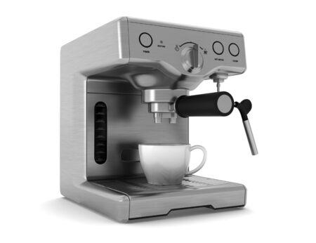koffiemachine geïsoleerd op witte achtergrond  Stockfoto