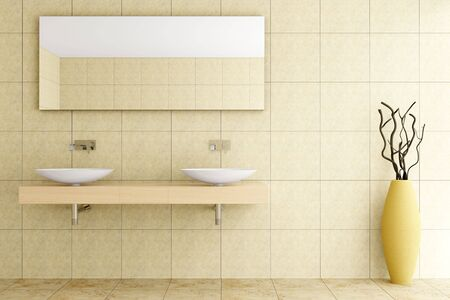 wall mirror: modern bathroom with beige tiles on wall and floor
