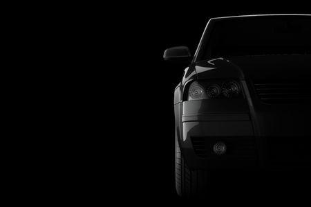 silhouette voiture: silhouette de voiture 3D sur fond noir