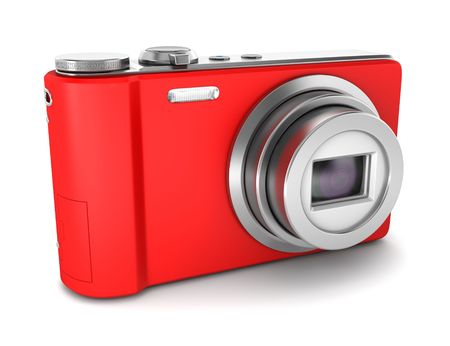 point and shoot: punto rojo y la c�mara de fotos de rodaje aislados sobre fondo blanco