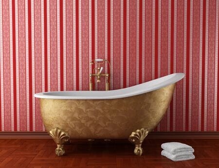 classic bathroom with old bathtub and red stripped wall photo