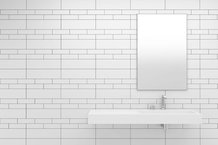 modern bathroom with white tiles on wall Stock Photo - 7989817