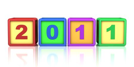 color blocks with 2011 new year date isolated on white photo