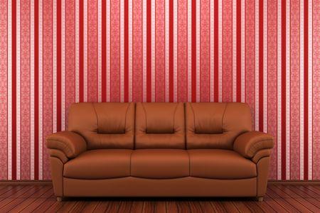 brown leather sofa: divano in pelle marrone davanti alla parete spogliato rosso Archivio Fotografico