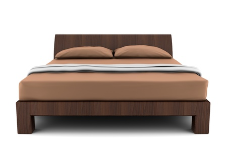 wooden bed isolated on white background photo
