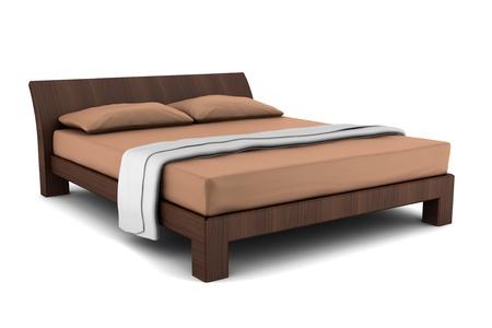 muebles de madera: cama de madera aislada sobre fondo blanco