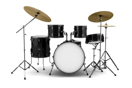 drum: black drum kit isolated on white background