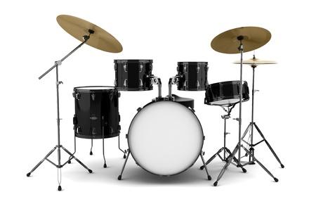 tambores: kit de tambor negro aislado sobre fondo blanco