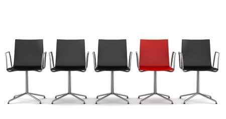 red office chair among black chairs isolated on white background photo