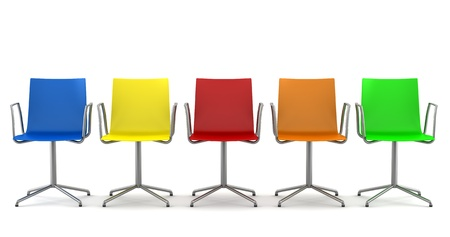 many color office chairs isolated on white background photo