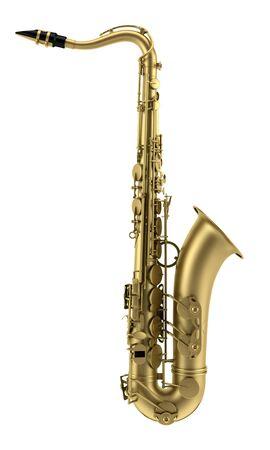 instrumentos musicales: saxof�n tenor, aislado en fondo blanco
