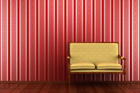 yellow classic sofa in front of red striped wall Stock Photo - 8646608