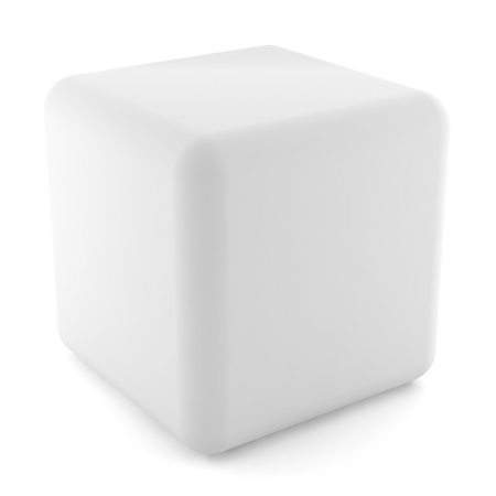 white cube: blank white cube isolated on white background with clipping path Stock Photo