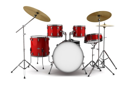 drums: kit de tambor de rojo aislado en fondo blanco Foto de archivo