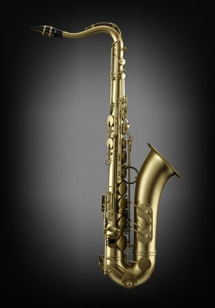 single tenor saxophone on dark wall background photo