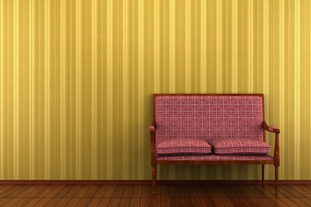 red classic sofa in front of yellow striped wall photo