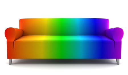 rainbow color couch isolated on white background Stock Photo - 8809296