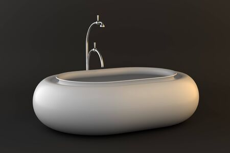 modern bathtub isolated on dark background  photo