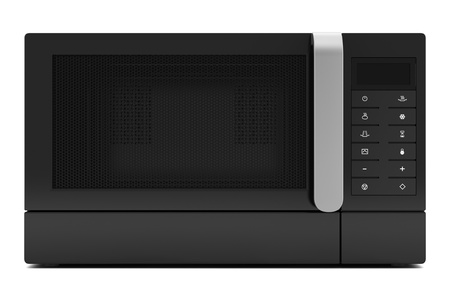 black microwave oven isolated on white background photo