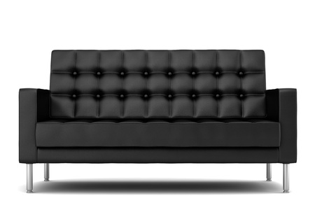 modern sofa: modern black leather sofa isolated on white background