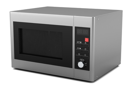 defrost: grey microwave oven isolated on white background Stock Photo
