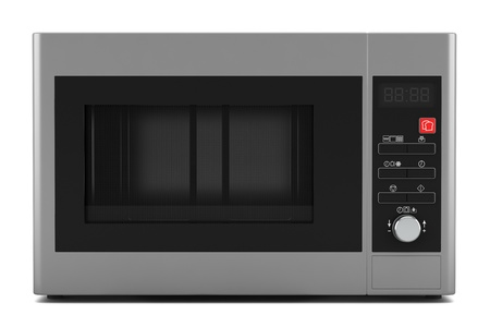 grey microwave oven isolated on white background photo