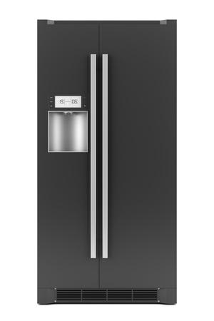 single modern black refrigerator isolated on white background photo