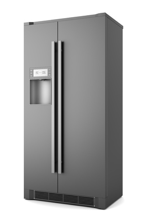 refrigerator: single modern black refrigerator isolated on white background