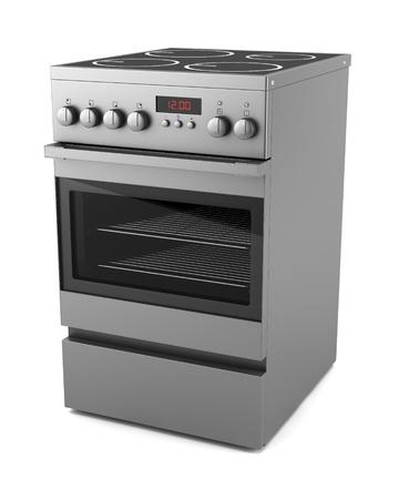 estufa: el�ctrica moderna cocina aislado sobre fondo blanco Foto de archivo