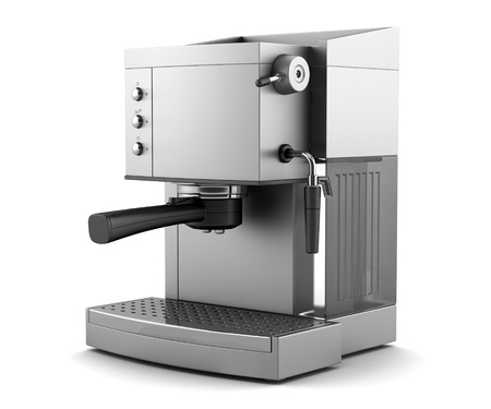 maker: modern coffee machine isolated on white background with clipping path