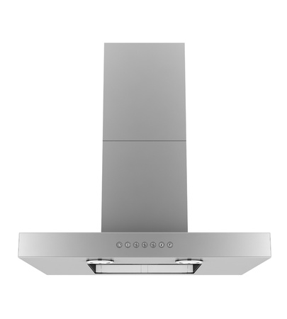 modern metallic cooker hood isolated on white background photo