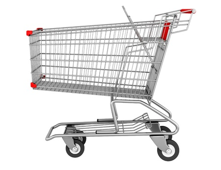 trolley: empty shopping cart isolated on white background