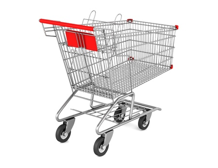 empty shopping cart isolated on white background Stock Photo - 9464895