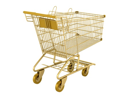 golden empty shopping cart isolated on white background photo