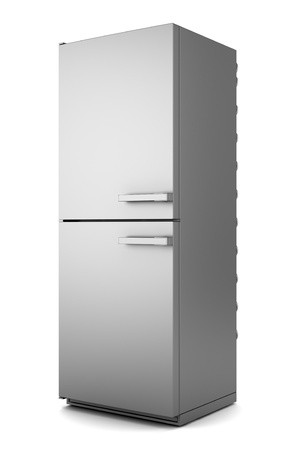 fridge: single modern gray refrigerator isolated on white background