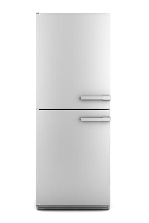 single modern gray refrigerator isolated on white background photo