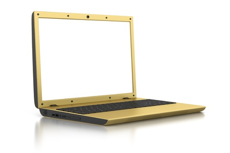 golden laptop with blank screen isolated on white background