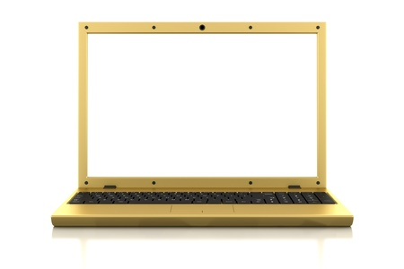 golden laptop with blank screen isolated on white background Stock Photo - 9561007