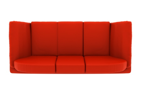 couch: modern red leather couch isolated on white background. top view