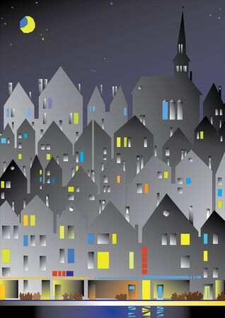 european city in the night Stock Vector - 9608294
