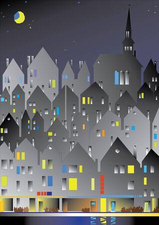 ville européenne dans la nuit.