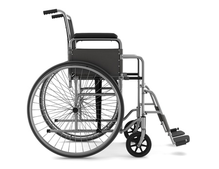 Wheel chair: invalid chair isolated on white background with clipping path Stock Photo