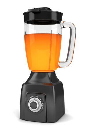 licuadora: blender negro moderno con jugo de naranja aislado sobre fondo blanco