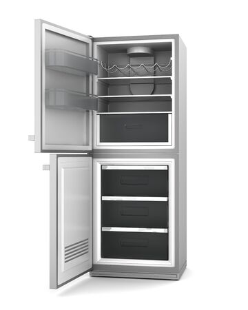 modern refrigerator with open doors isolated on white background photo