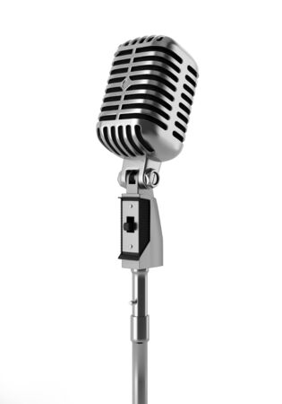 vintage microphone isolated on white background photo