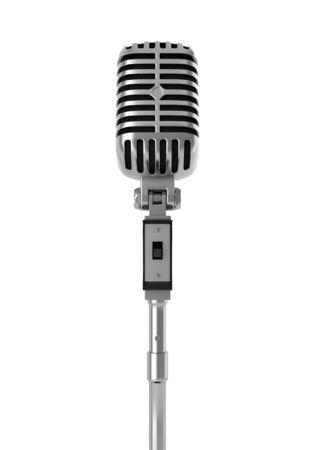 microfono antiguo: Micr�fono de la vendimia aislado en blanco
