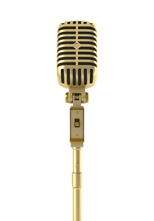 golden vintage microphone isolated on white background photo