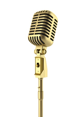microphone stand: golden vintage microphone isolated on white background Stock Photo