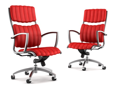 red chair: two modern red office chairs isolated on white background Stock Photo