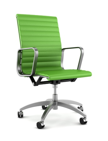 green office: modern green office chair isolated on white background Stock Photo